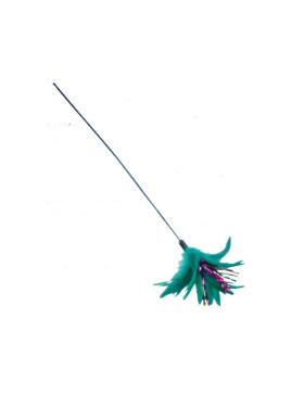 jouet canne a peche + plumeau vert 50 cm