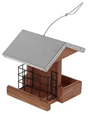 mangeoire silva cedre et toit inox 17x17x18 cm