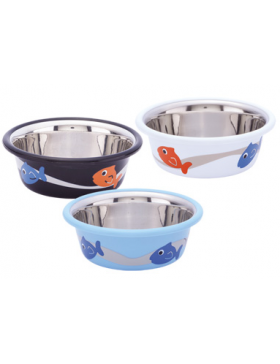 mangeoire inox cutie fish noir/blanc/bleu